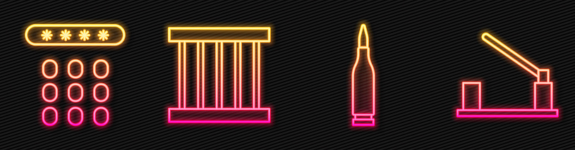 Set line Bullet, Password protection, Prison window and Parking car barrier. Glowing neon icon. Vector