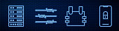 Set line Bulletproof vest, Server, Data, Web Hosting, Barbed wire and Mobile with closed padlock. Glowing neon icon on brick wall. Vector