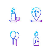 Set line Burning candle, Balloons with ribbon, Burning candle in candlestick and Map pointer with christian cross. Gradient color icons. Vector