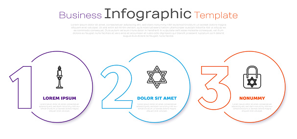 Set line Burning candle in candlestick, Star of David and Shopping bag with star of david. Business infographic template. Vector