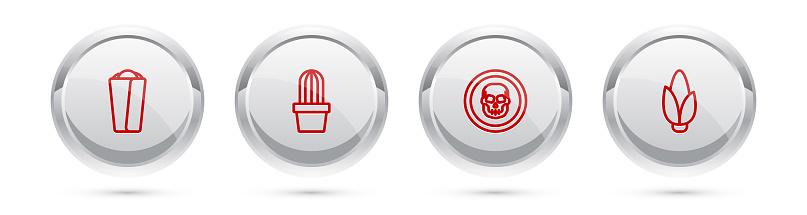 Set line Burrito, Cactus or succulent in pot, Mexican skull coin and Corn. Silver circle button. Vector