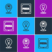 istock Set line Cafe and restaurant location, Alcohol or beer bar and Pizza in cardboard box icon. Vector 1272854671