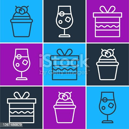 istock Set line Cake, Gift box and Cocktail and alcohol drink icon. Vector 1267486829