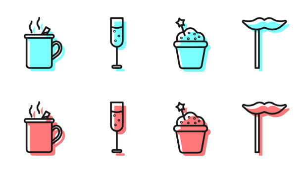 Set line Cake, Mulled wine, Glass of champagne and Paper mustache on stick icon. Vector Set line Cake, Mulled wine, Glass of champagne and Paper mustache on stick icon. Vector alcohol drink clipart stock illustrations