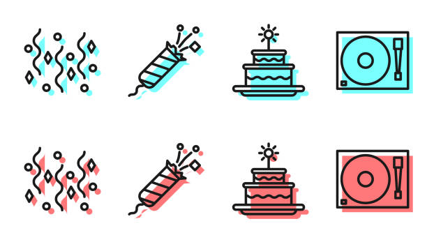 Set line Cake with burning candles, Festive confetti, Firework rocket and Vinyl player with a vinyl disk icon. Vector Set line Cake with burning candles, Festive confetti, Firework rocket and Vinyl player with a vinyl disk icon. Vector music and entertainment icons stock illustrations
