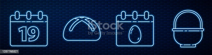 istock Set line Calendar with Easter egg, Calendar with Happy Easter, Easter cake and Basket. Glowing neon icon on brick wall. Vector 1257765321