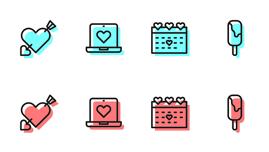 Set line Calendar with heart, Amour and arrow, Dating app online and Ice cream icon. Vector