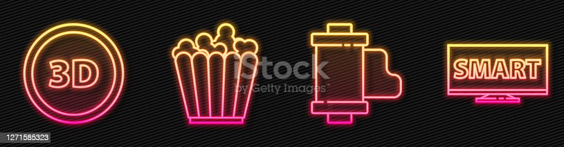 istock Set line Camera vintage film roll cartridge, 3D word, Popcorn in box and Screen tv with Smart video. Glowing neon icon. Vector 1271585323