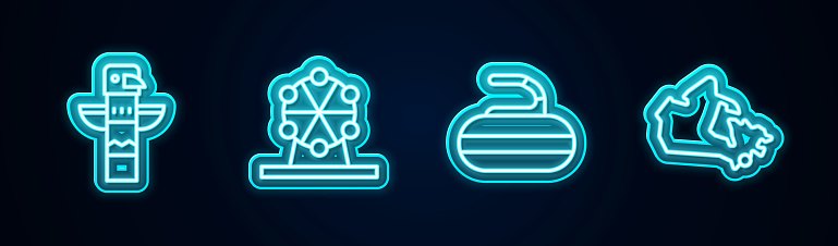 Set line Canadian totem pole, Ferris wheel, Stone for curling and Canada map. Glowing neon icon. Vector