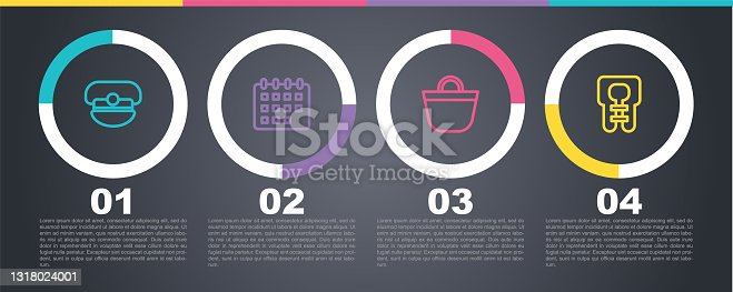 istock Set line Captain hat, Calendar, Beach bag and Life jacket. Business infographic template. Vector 1318024001