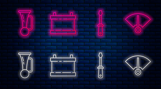 Set line Car battery, Screwdriver, Signal horn on vehicle and Speedometer. Glowing neon icon on brick wall. Vector