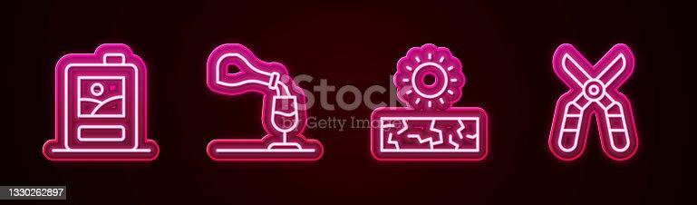 istock Set line Cardboard box of wine, Wine tasting, degustation, Drought and Gardening scissors. Glowing neon icon. Vector 1330262897