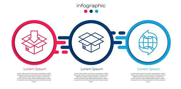 Set line Cardboard box with traffic symbol, Carton cardboard box and Worldwide. Business infographic template. Vector
