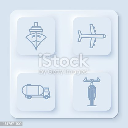 istock Set line Cargo ship, Plane, Tanker truck and Bicycle. White square button. Vector 1317671902