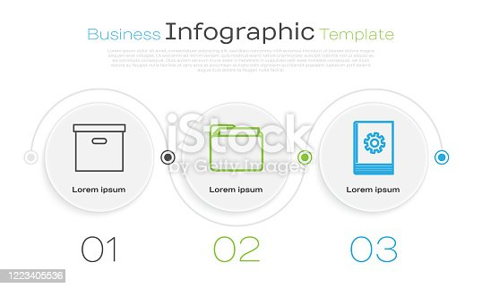 Set line Carton cardboard box, Document folder and User manual. Business infographic template. Vector