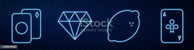 istock Set line Casino slot machine with lemon, Deck of playing cards, Diamond and Playing card with clubs. Glowing neon icon on brick wall. Vector 1253315447