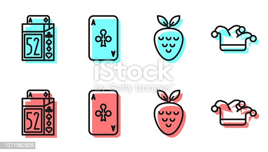 istock Set line Casino slot machine with strawberry, Deck of playing cards, Playing card with clubs and Joker playing card icon. Vector 1271582925