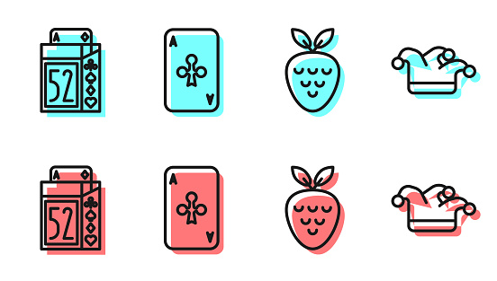 Set line Casino slot machine with strawberry, Deck of playing cards, Playing card with clubs and Joker playing card icon. Vector