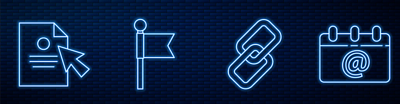 Set line Chain link, Document and cursor, Location marker and Calendar with email. Glowing neon icon on brick wall. Vector