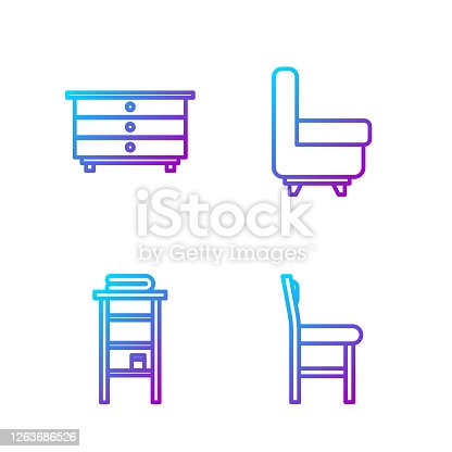 Set line Chair, Bathroom rack with shelves for towels, Chest of drawers and Armchair. Gradient color icons. Vector