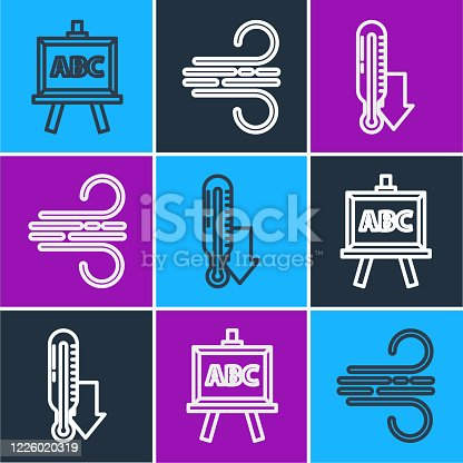 Set line Chalkboard, Meteorology thermometer and Wind icon. Vector