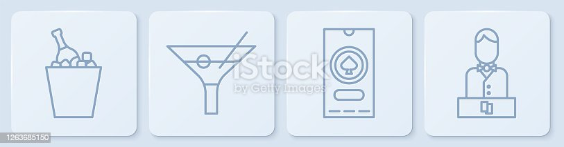 istock Set line Champagne in an ice bucket, Casino poker tournament invitation, Martini glass and Casino dealer. White square button. Vector 1263685150
