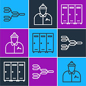 Set line Championship tournament bracket, Locker or changing room and Hockey coach icon. Vector