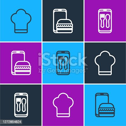 istock Set line Chef hat, Online ordering and delivery and icon. Vector 1272854624