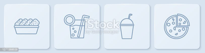 istock Set line Chicken nuggets in box, Milkshake, Cocktail and Pizza. White square button. Vector 1271588535