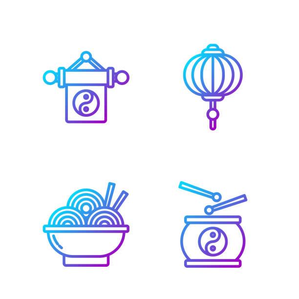 ilustraciones, imágenes clip art, dibujos animados e iconos de stock de set line tambor chino, fideos asiáticos en tazón, yin yang y chine - yin yang symbol