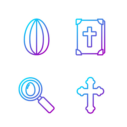 Set line Christian cross, Search and easter egg, Easter egg and