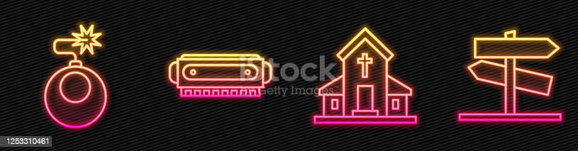 Set line Church building, Bomb ready to explode, Harmonica and Road traffic signpost. Glowing neon icon. Vector