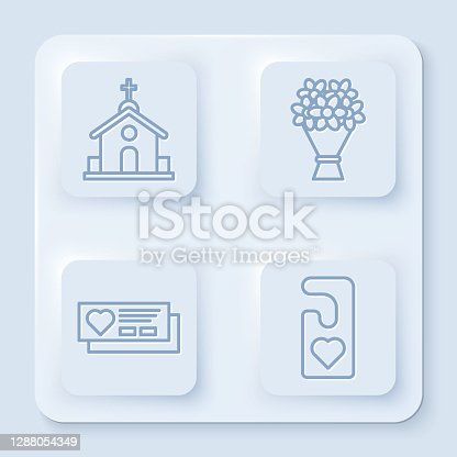 istock Set line Church building, Bouquet of flowers, Ticket with heart and Please do not disturb with heart. White square button. Vector 1288054349