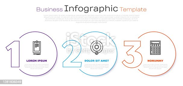 istock Set line Clipboard with document, Solar system and Calculator. Business infographic template. Vector 1281836349