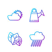 Set line Cloud with rain, Leaf or leaves, Sun and cloud weather and Watering can. Gradient color icons. Vector