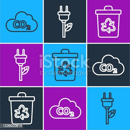 Set line CO2 emissions in cloud, Recycle bin with recycle and Electric saving plug in leaf icon. Vector