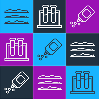 Set line Cocaine or heroin drug, Medicine bottle and pills and Test tube and flask icon. Vector