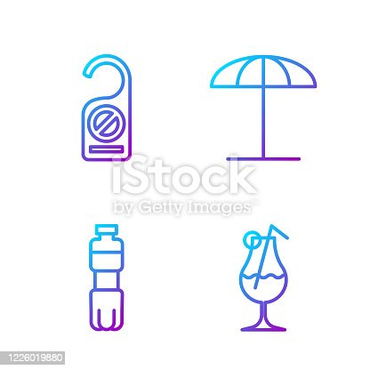 istock Set line Cocktail and alcohol drink, Bottle of water, Please do not disturb and Sun protective umbrella for beach. Gradient color icons. Vector 1226019880