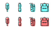 Set line Cocktail and alcohol drink, Ice cream, Bottle of water and Hiking backpack icon. Vector