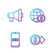 istock Set line Coin money with dollar, Mobile phone SEO optimization, Megaphone and Earth globe with dollar. Gradient color icons. Vector 1270085168