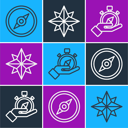 Set line Compass, Compass and Wind rose icon. Vector