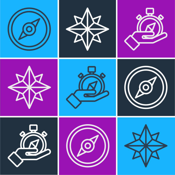 Set line Compass, Compass and Wind rose icon. Vector Set line Compass, Compass and Wind rose icon. Vector adventure clipart stock illustrations