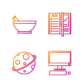 istock Set line Computer monitor with keyboard and mouse, Planet, Mortar and pestle and Notebook. Gradient color icons. Vector 1289949564