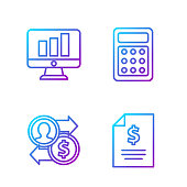 istock Set line Contract money, Job promotion exchange money, Monitor with graph chart and Calculator. Gradient color icons. Vector 1230462738