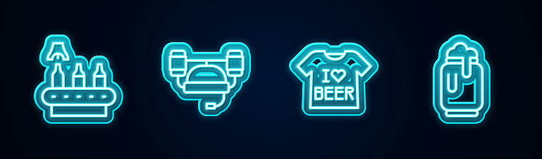 Set line Conveyor band, beer, Beer helmet, T-shirt and can with foam. Glowing neon icon. Vector