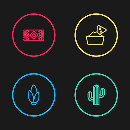 Set line Corn, Cactus, Nachos in bowl and Mexican carpet icon. Vector