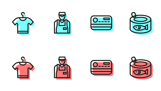 Set line Credit card, T-shirt, Seller and Canned fish icon. Vector