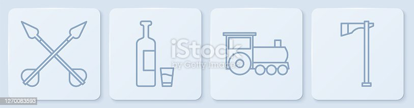 Set line Crossed arrows, Retro train, Whiskey bottle and glass and Tomahawk axe. White square button. Vector