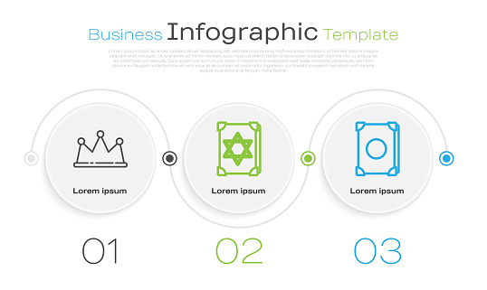 Set line Crown, Ancient magic book and Ancient magic book. Business infographic template. Vector