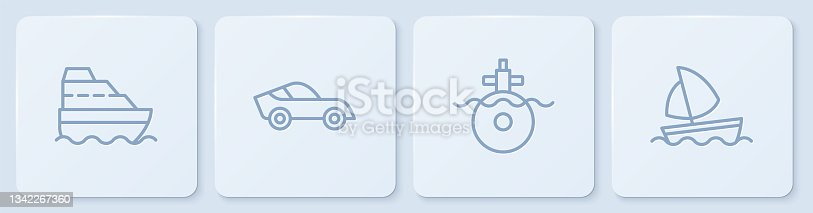 istock Set line Cruise ship, Submarine, Car and Yacht sailboat. White square button. Vector 1342267360
